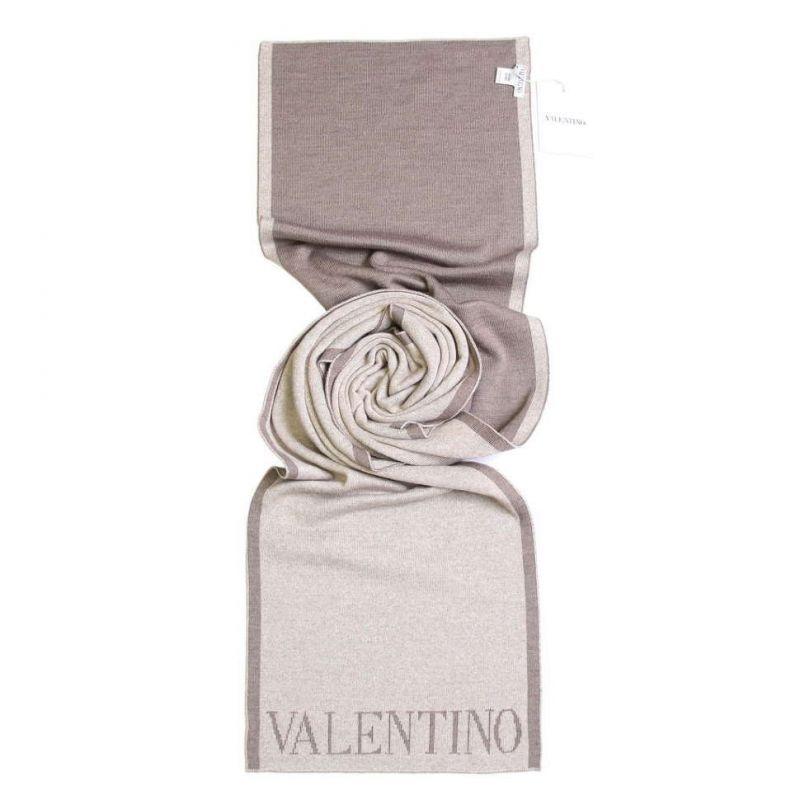 Тёплый шарф Valentino, бежевый, с логотипом