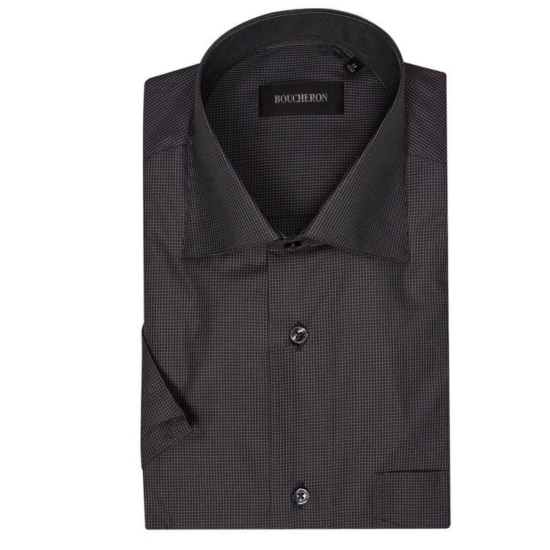 Рубашка чёрная в мелкую клетку, с короткими рукавами, неприталенная