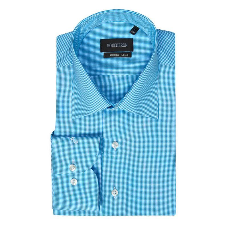 Рубашка голубая в мелкую клетку приталенная и удлинённая
