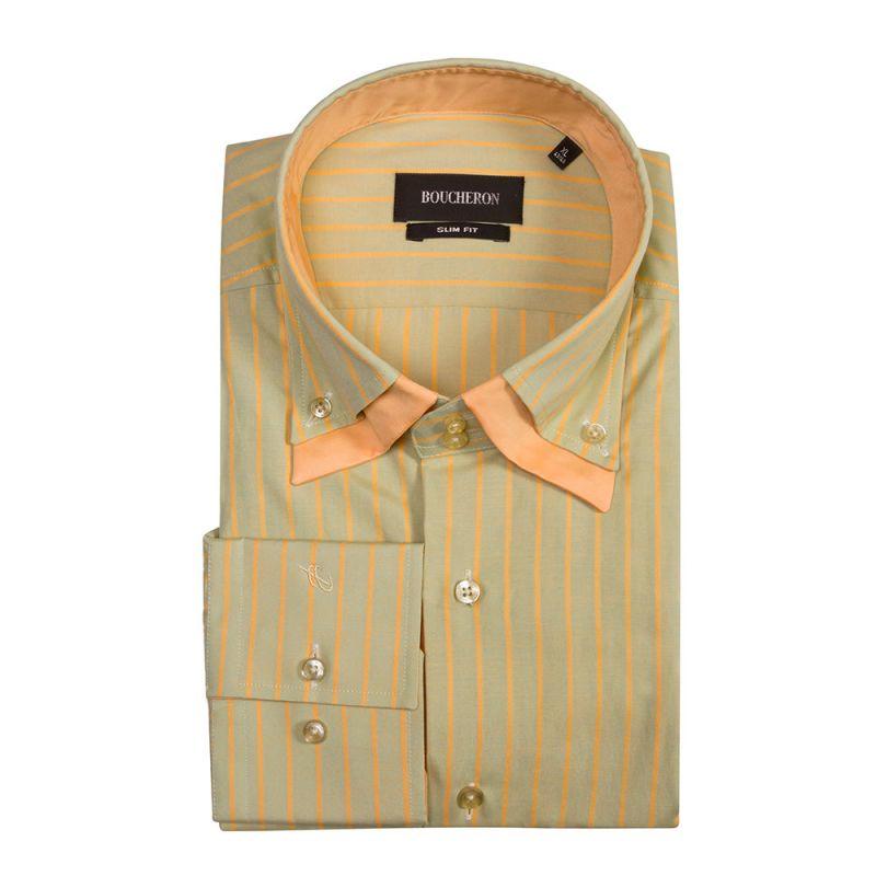 Рубашка зеленая с двойным воротником приталенная