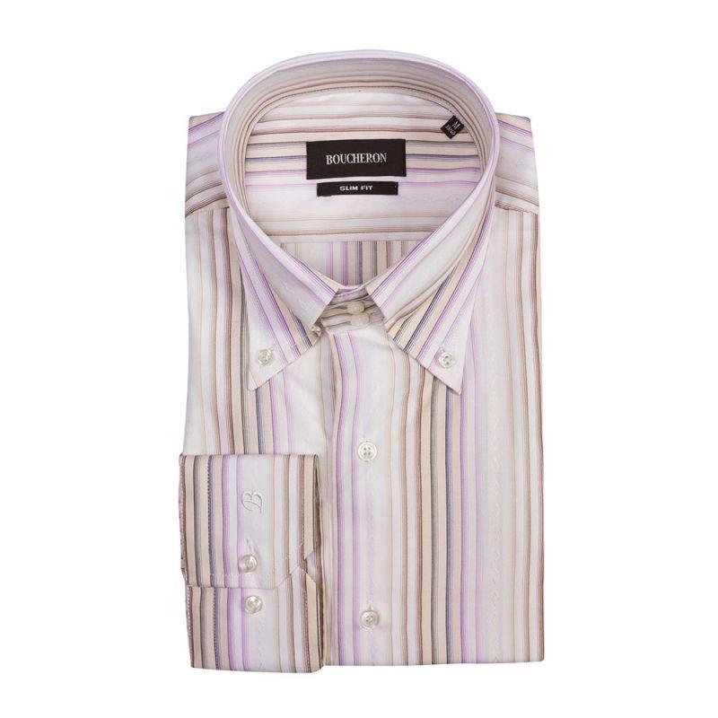 Рубашка светлая в разноцветную полоску приталенная