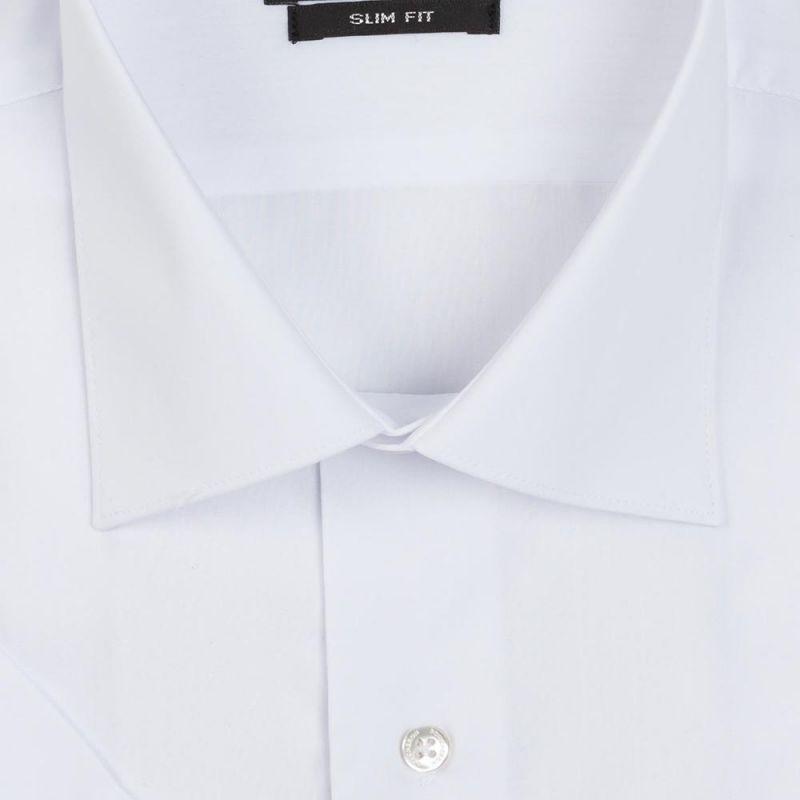 Рубашка белоснежная с короткими рукавами приталенная