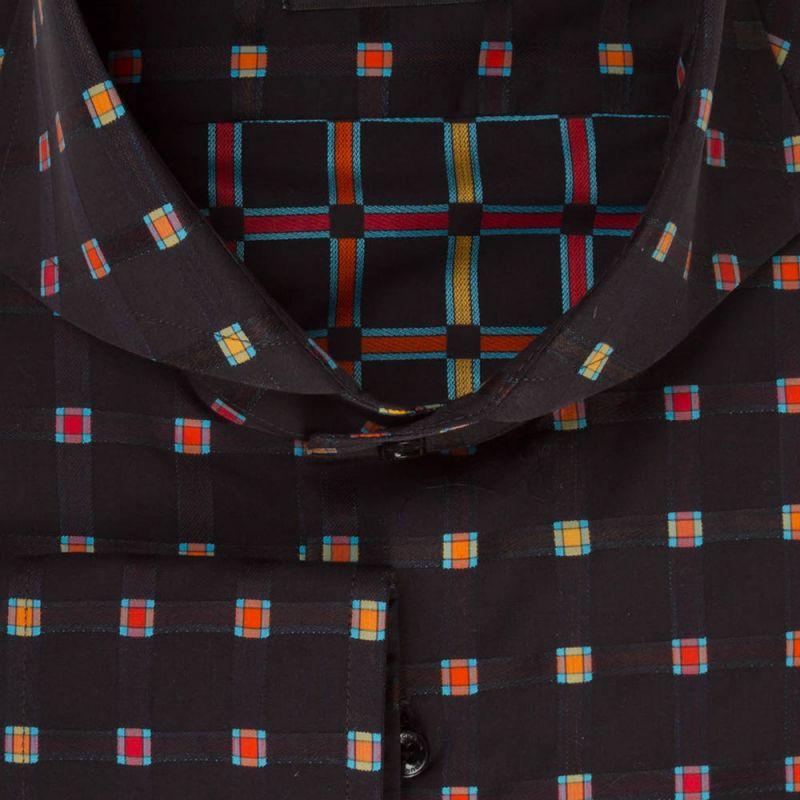 Рубашка чёрная с цветными квадратами приталенная