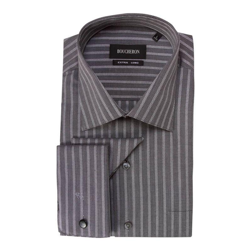 Рубашка серая в полоску неприталенная и удлинённая