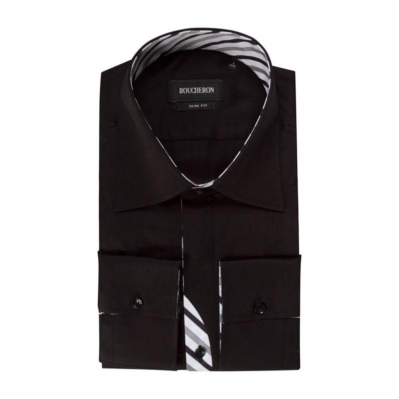 Рубашка чёрная приталенная