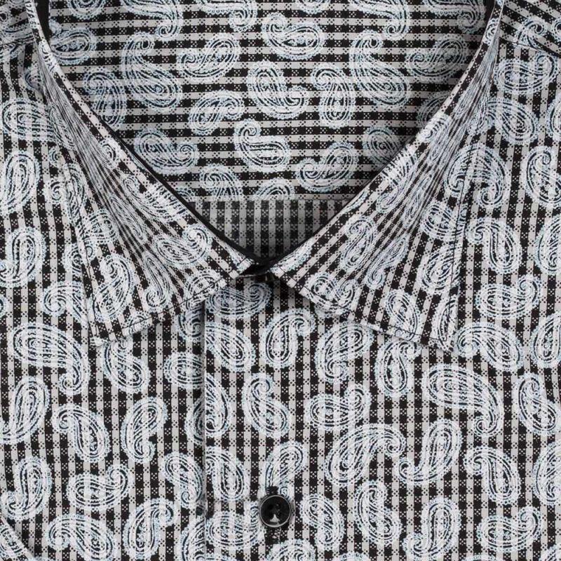 Рубашка чёрная с огурцами, с короткими рукавами, неприталенная