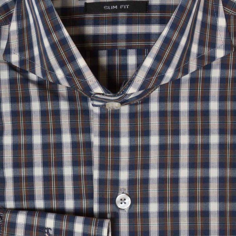 Рубашка сине-коричневая в клетку приталенная