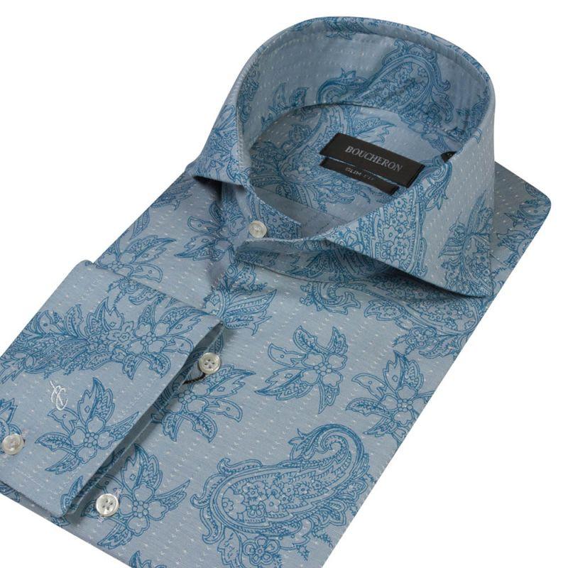 Рубашка приталенного кроя, бирюзовая, с огурцами