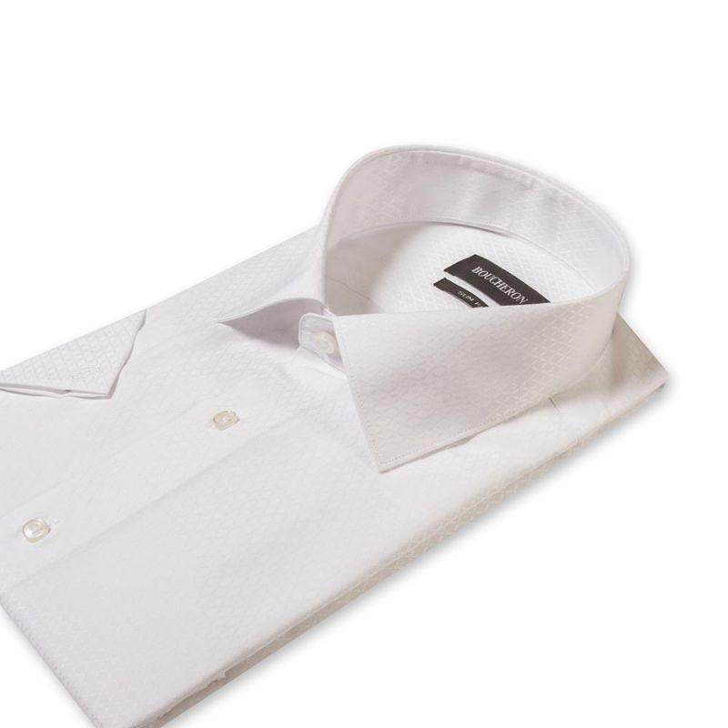 Рубашка белая с выделкой с короткими рукавами приталенная