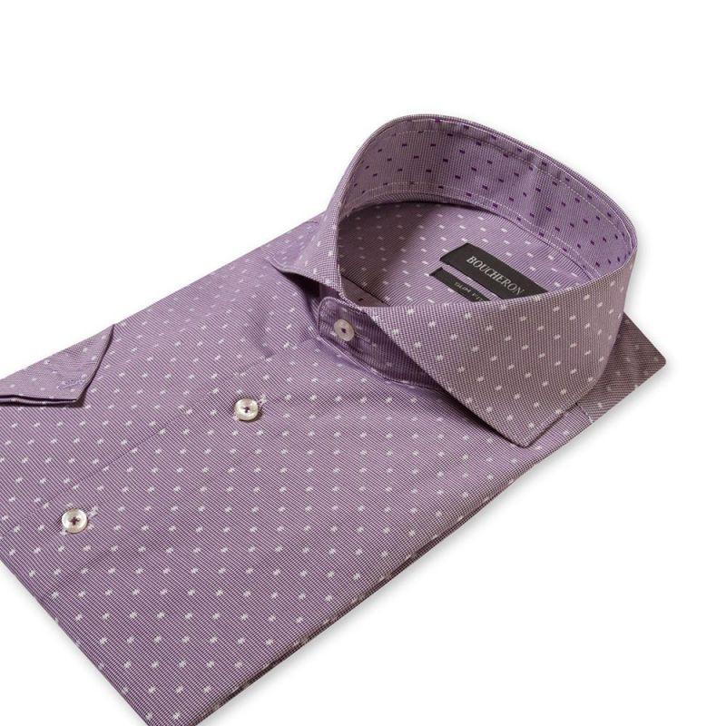 Рубашка в горошек с короткими рукавами приталенная