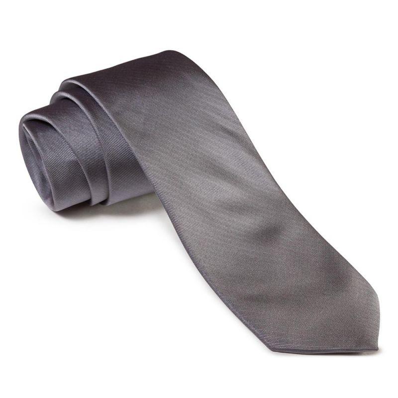 Галстук удлинённый серого цвета однотонный