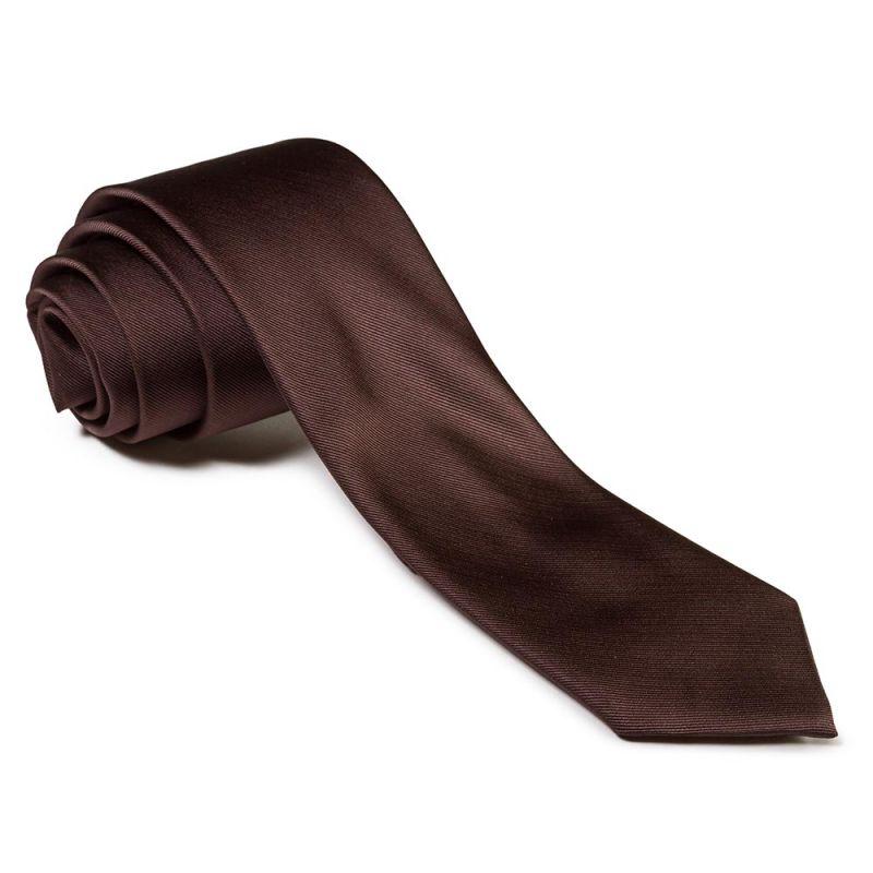 Галстук удлинённый тёмно-коричневого цвета однотонный