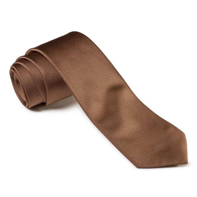 Галстук удлинённый коричневого цвета однотонный