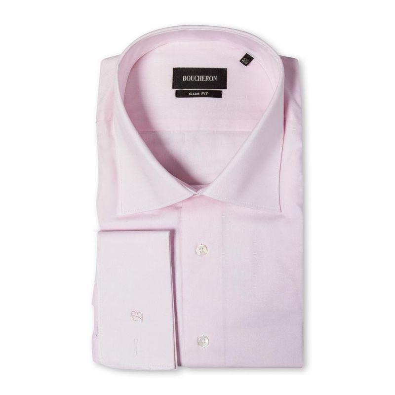 Розовая рубашка с выделкой приталенная под запонки