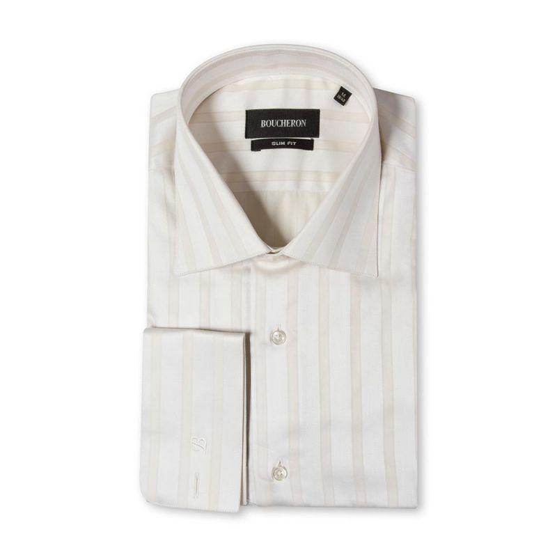 Бежевая рубашка в крупную полоску приталенная, под запонки
