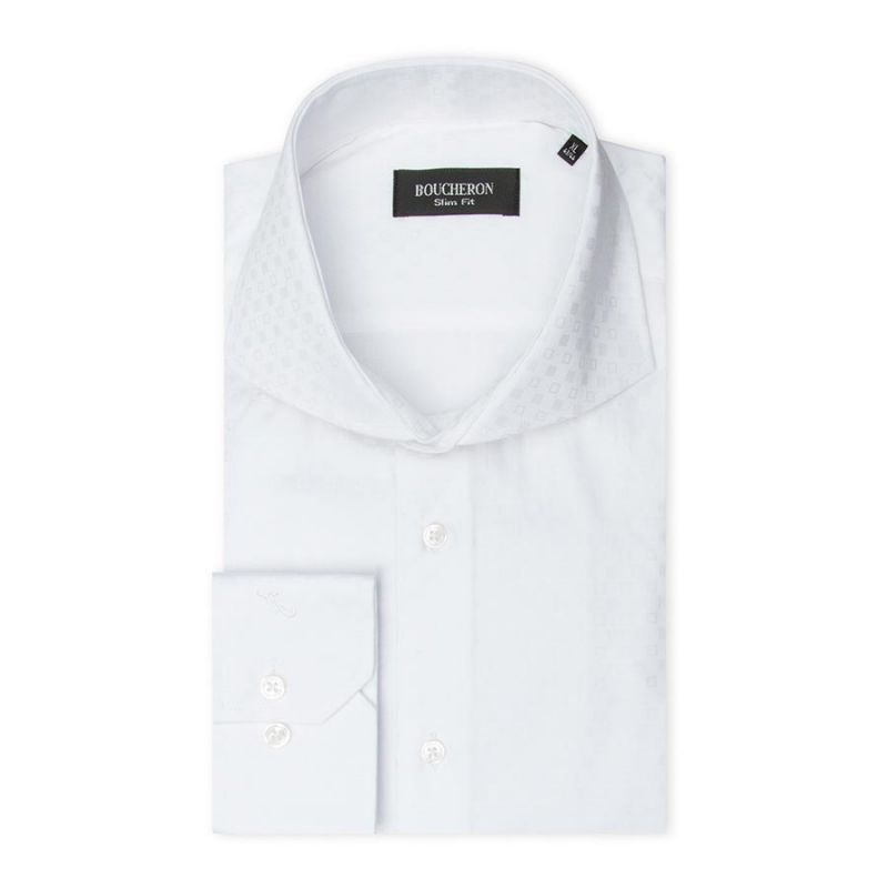 Рубашка белая, неприталенная, однотонная