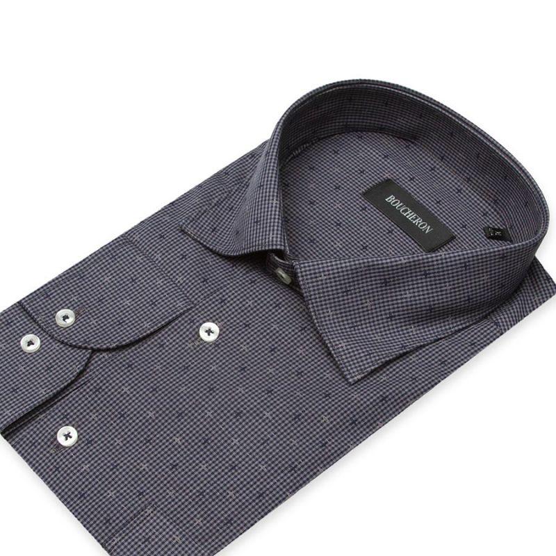 Рубашка серая, с крестиками, неприталенная