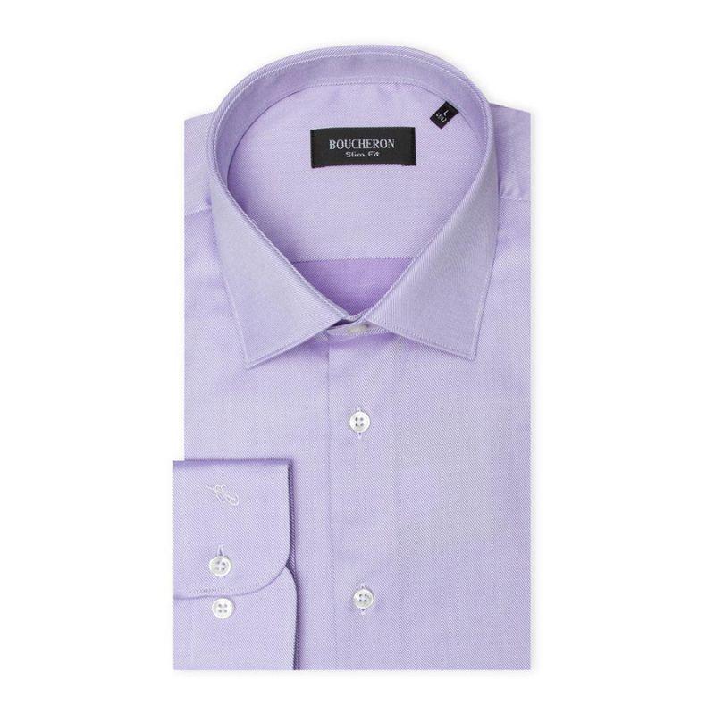 Рубашка лиловая с выделкой, приталенная