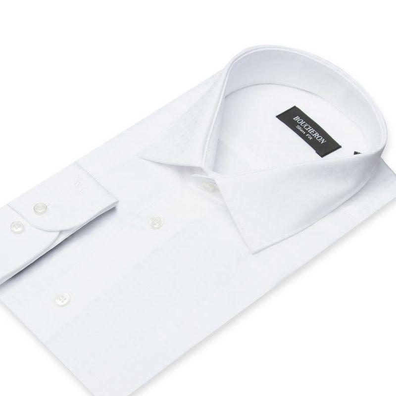 Рубашка белая с выделкой, приталенная, удлинённая