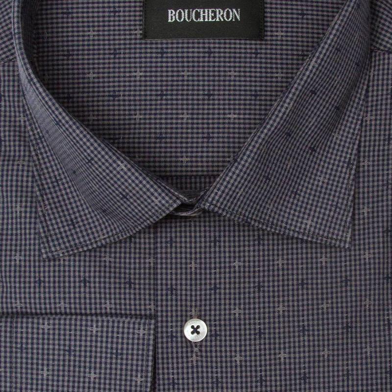 Рубашка серая с крестиками, неприталенная и удлинённая