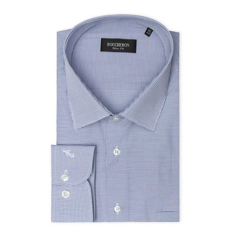 Рубашка голубая в клетку, неприталенная и удлинённая