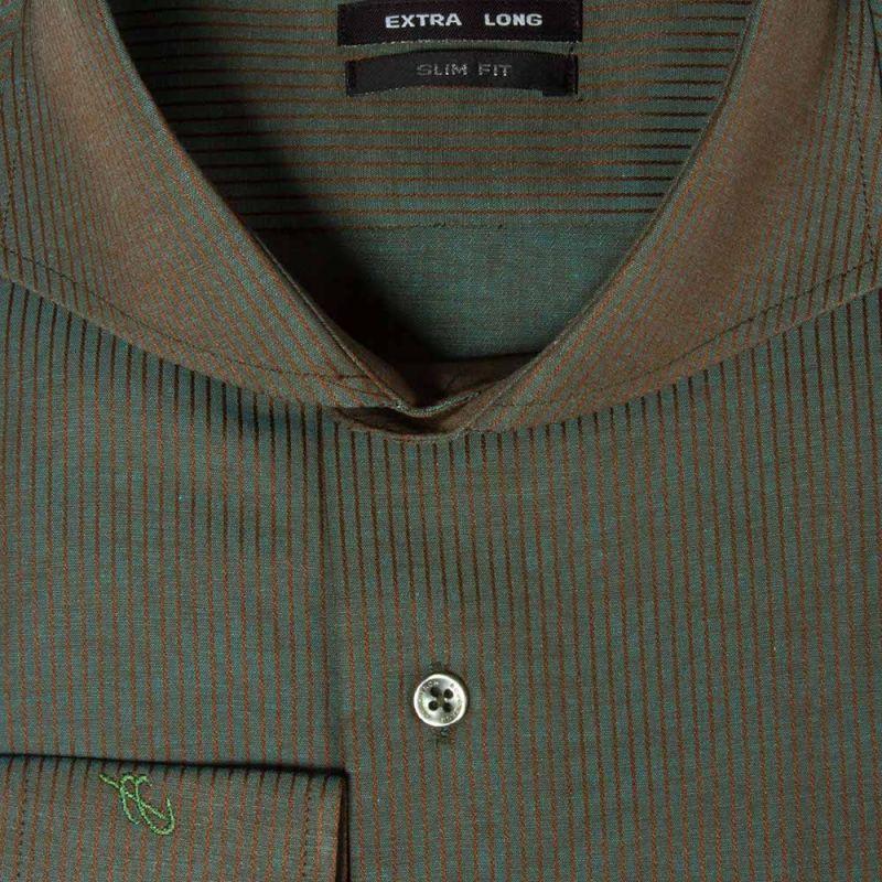 Рубашка болотная, приталенная и удлинённая
