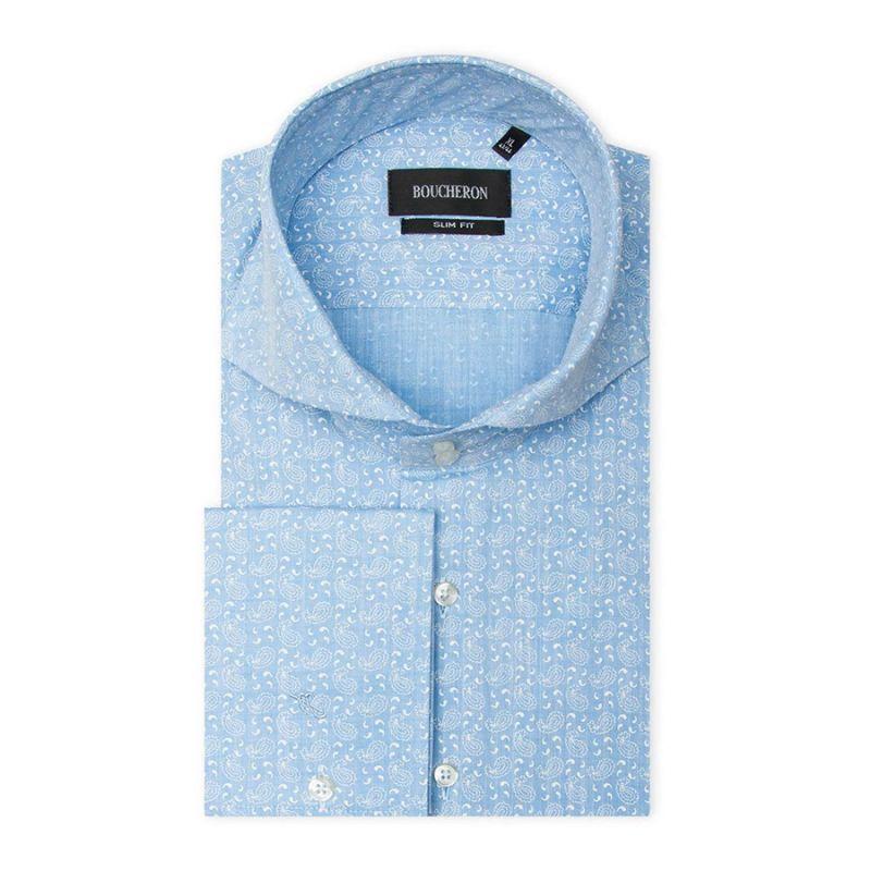 Рубашка голубая с огурцами, приталенная