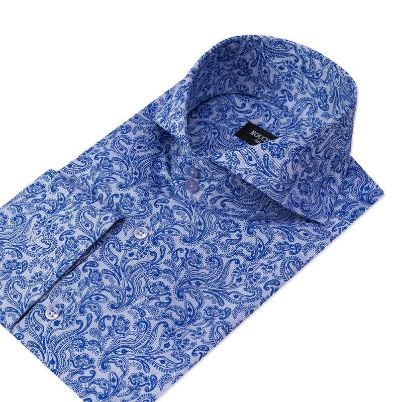 Рубашка синяя пейсли, приталенная