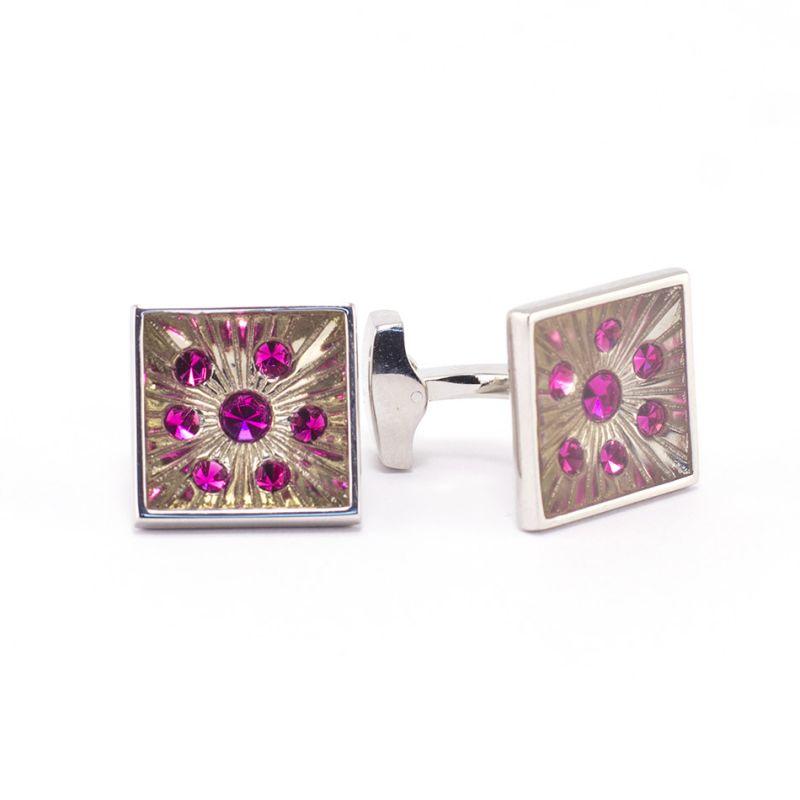 Квадратные запонки серебряного цвета, с розовыми кристаллами