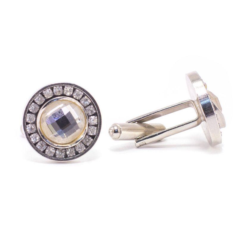 Круглые запонки, серебряного цвета, с белыми кристаллами