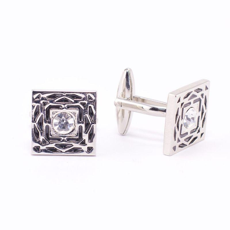 Квадратные запонки серебряного цвета, с белым кристаллом