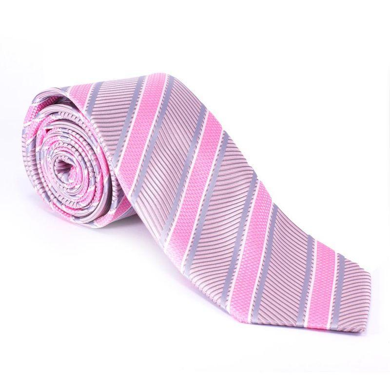 Галстук удлинённый розовый с узором в полоску