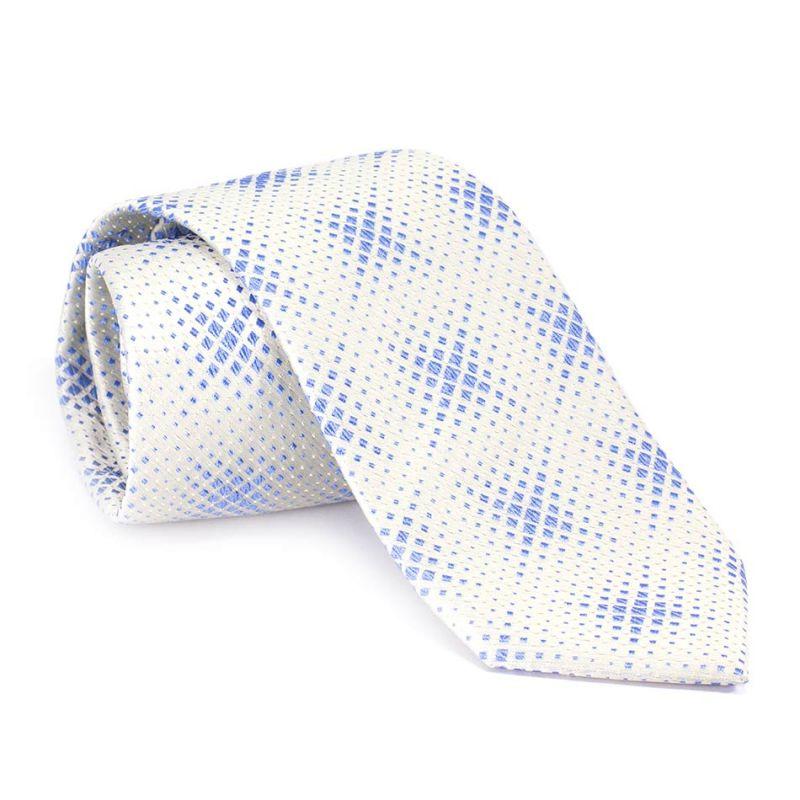 Галстук белый с голубым узором