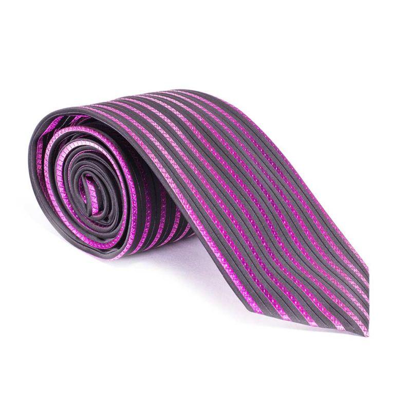 Галстук чёрный с фиолетовыми полосами