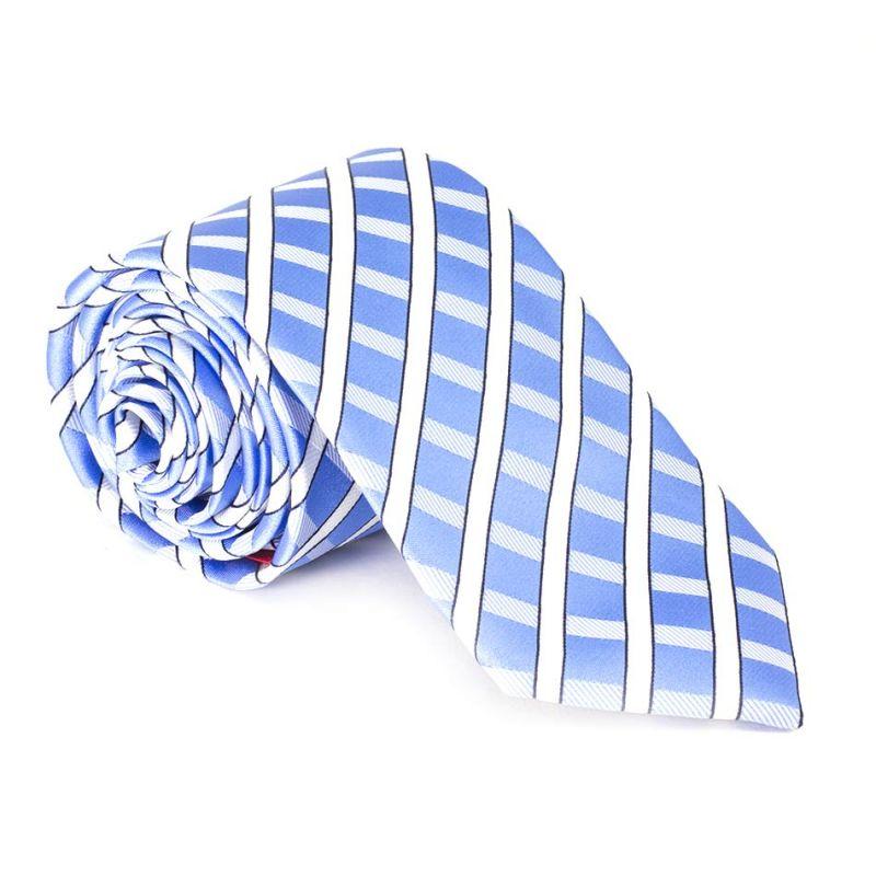 Галстук голубой в белую полоску