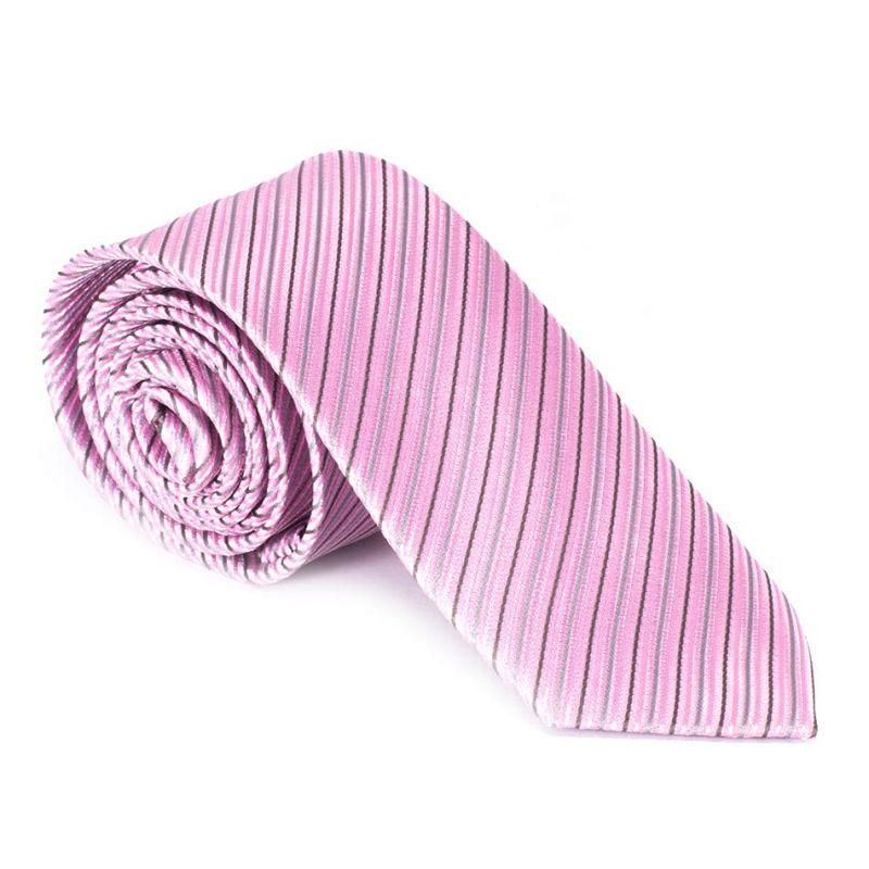 Галстук розовый в мелкую полоску
