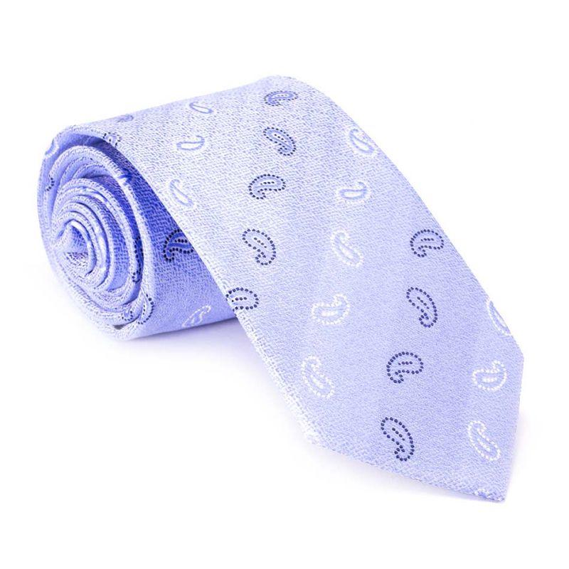 Галстук удлинённый голубой с узором