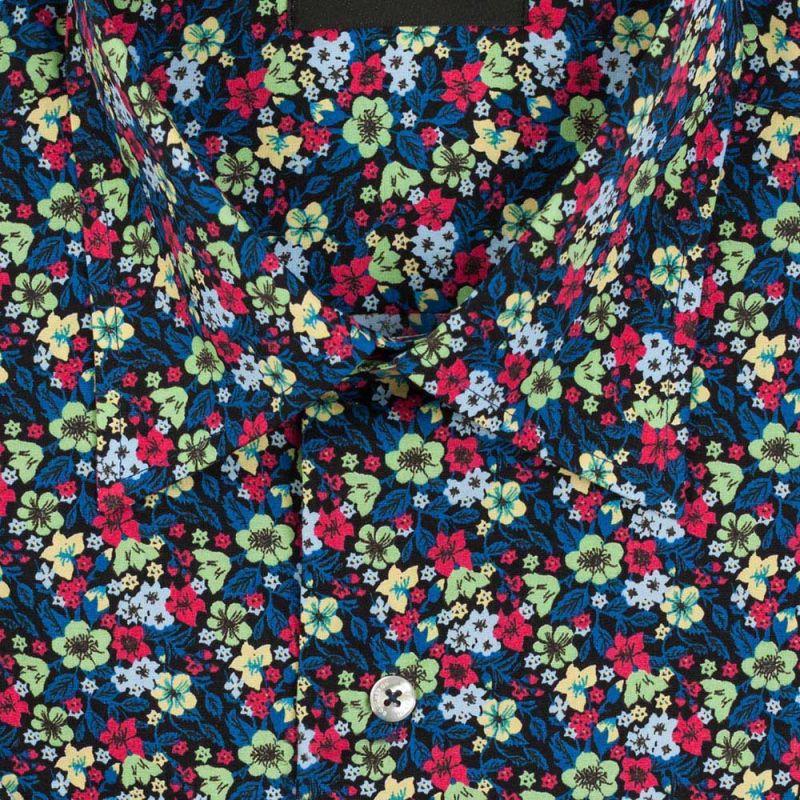 Рубашка синяя с цветами, с короткими рукавами, неприталенная