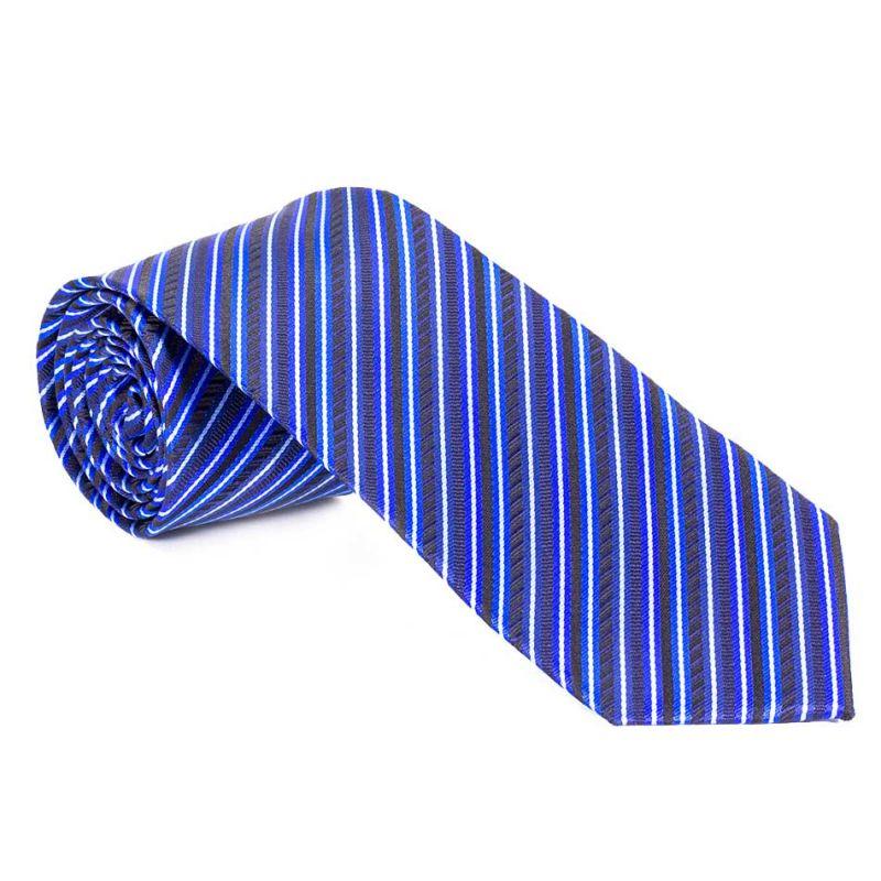 Галстук синий в разноцветную полоску
