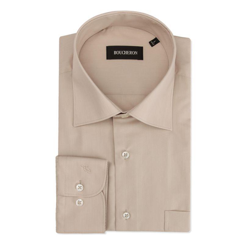 Тёмно-бежевая рубашка однотонная, неприталенная