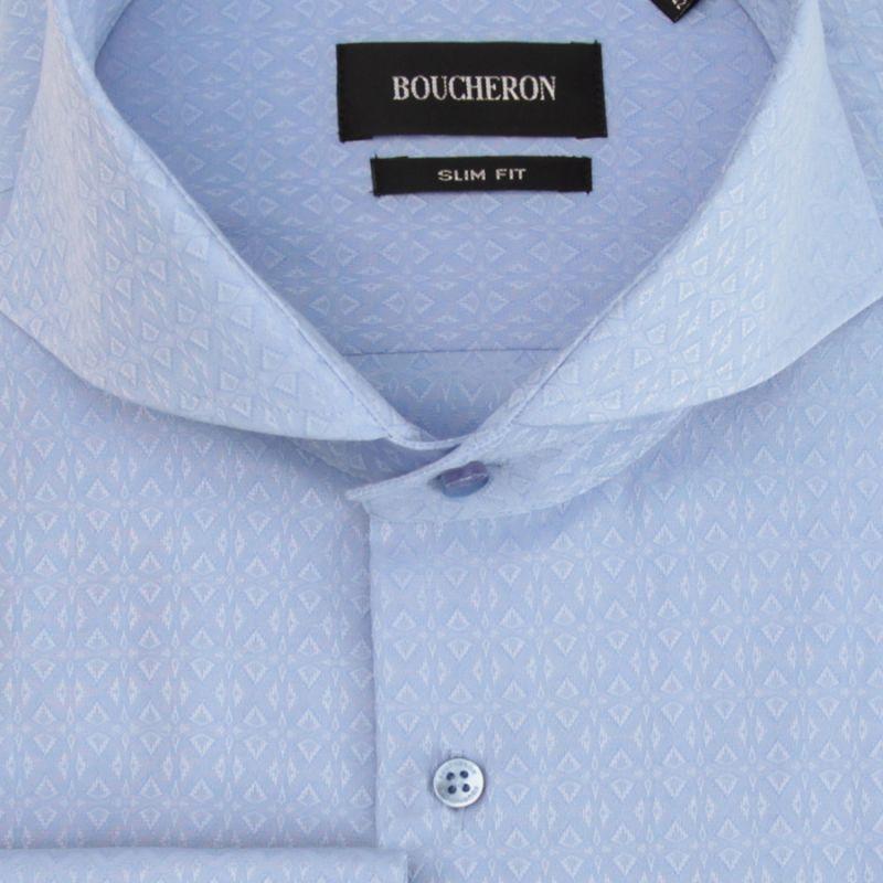 Голубая рубашка с узором, приталенная
