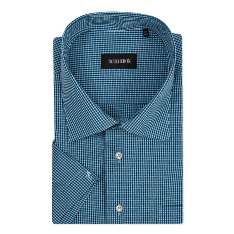 Рубашка синяя в мелкую клетку, с короткими рукавами, неприталенная
