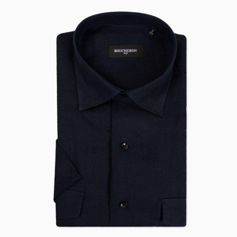 Рубашка с короткими рукавами, синяя (чёрная), льняная