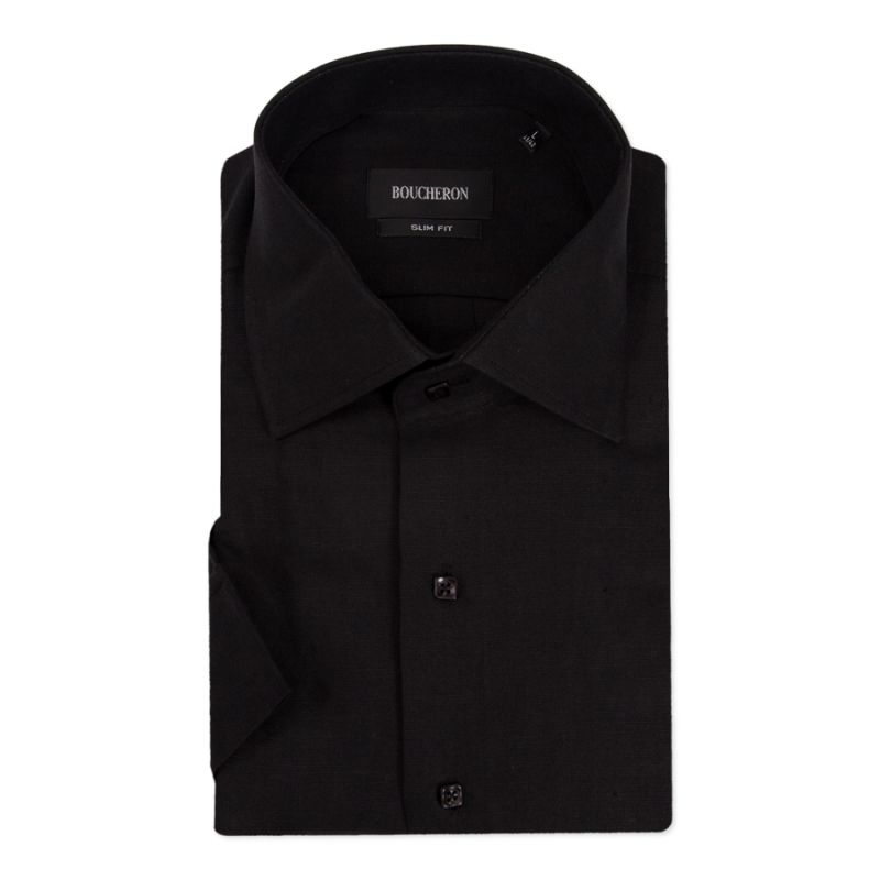 Рубашка чёрная льняная, с короткими рукавами, приталенная