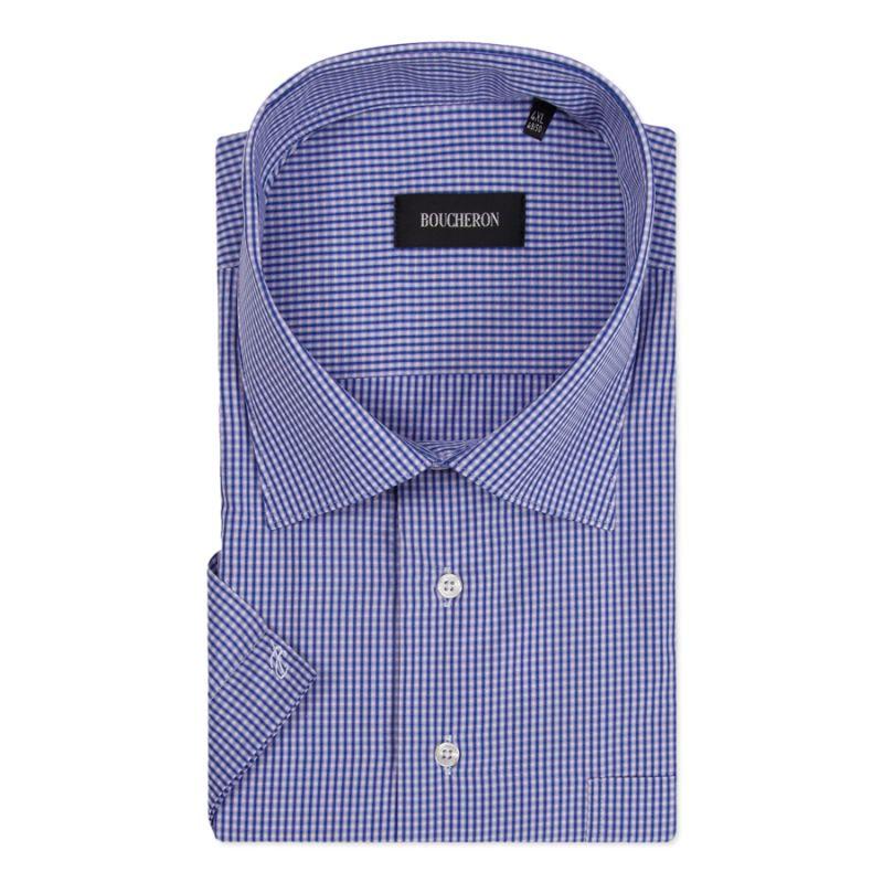 Рубашка синяя в клетку, с короткими рукавами, неприталенная