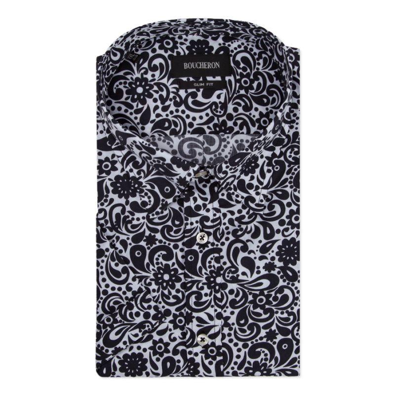 Чёрно-белая рубашка в цветах с короткими рукавами, приталенная