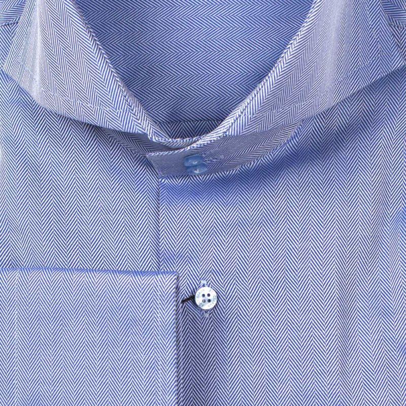 Рубашка синяя однотонная с выделкой неприталенная