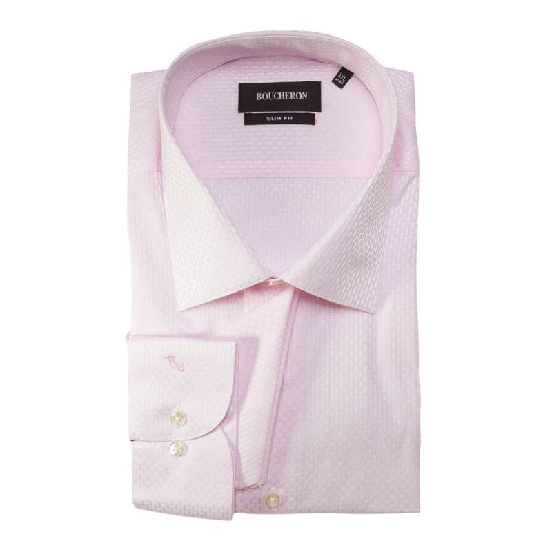 Рубашка розовая с выделкой приталенная