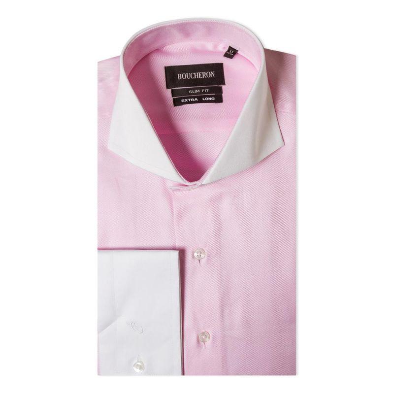 Рубашка розовая с выделкой приталенная удлиненная