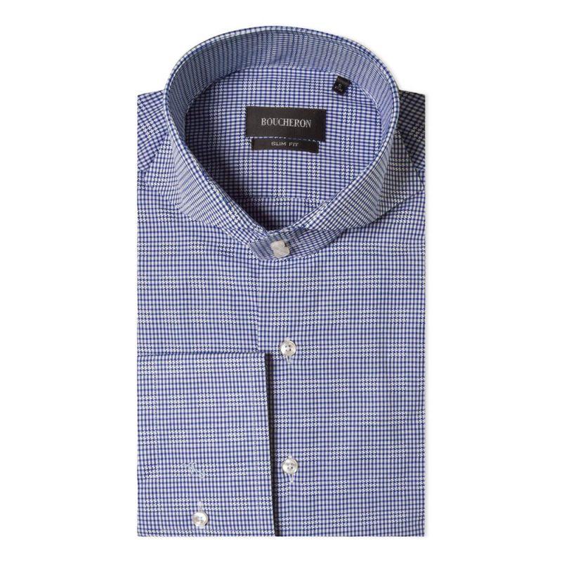 Рубашка белая в синюю клетку приталенная